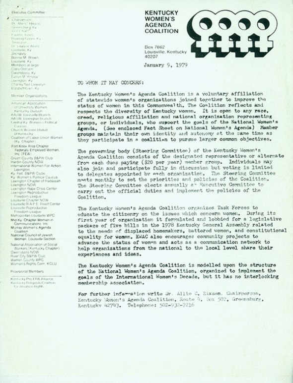 "As exemplified by this letter, the Lilialyce Akers Papers reflect her life-long activism related to women's issues and equality. Dr. Akers served on the board of the Kentucky Women's Agenda Coalition which worked to ""improve the status of women in the Commonwealth."""