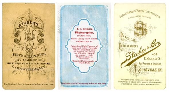 Various carte de visite backmarks, ca. 1865-1890