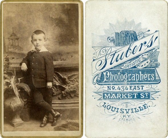 Carte de visite front and back, by Stuber's, ca. 1882-1888