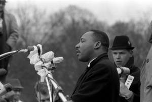 Rev. Dr. Martin Luther King, Jr. speaks to the crowd. Photo by Robert Doherty.