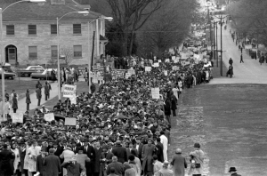 Crowd with Rev. Dr. Martin Luther King, Jr. at head