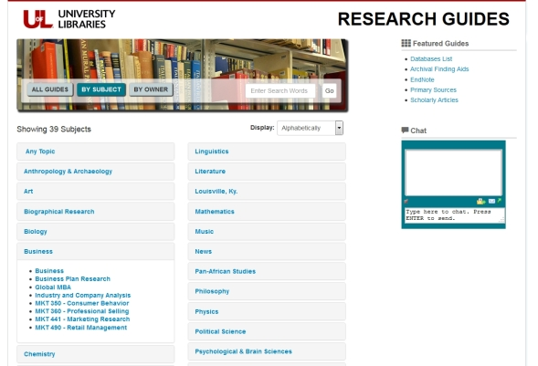 new Research Guides homepage