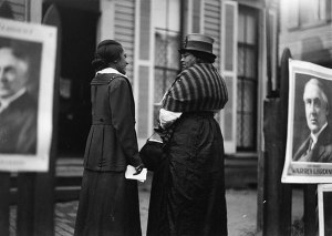 African American women at polls, 1920