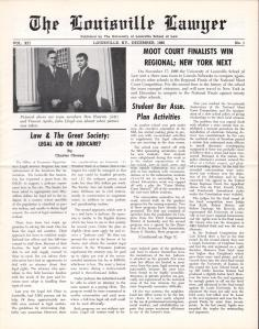 An example of a front page from the Louisville Lawyer, dated December 1966.