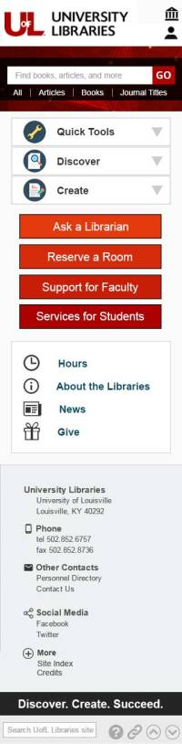 Mobile view for new UofL Libraries homepage
