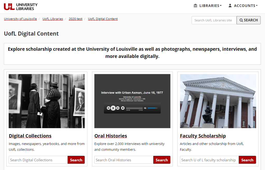 UofL Digital Content homepage