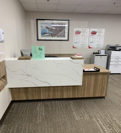 Front desk in Rowntree Medical Library.